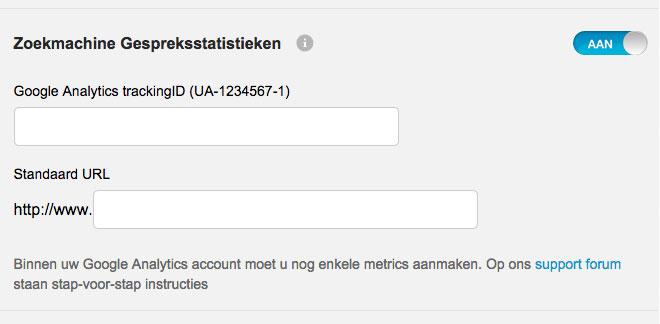 Met uw Mijn Belfabriek online dashboard stelt u zoekmachine gespreksstatistieken makkelijk in.