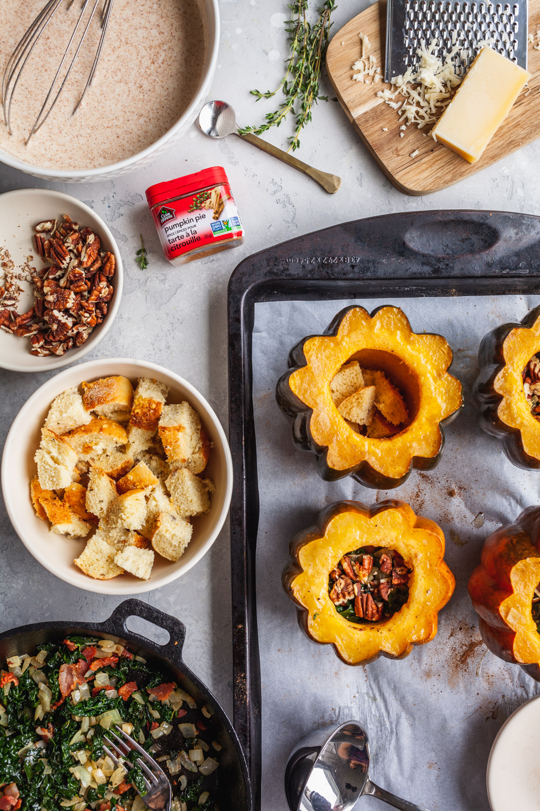 Stuffed Acorn Squash With Bacon And Kale Bread Pudding