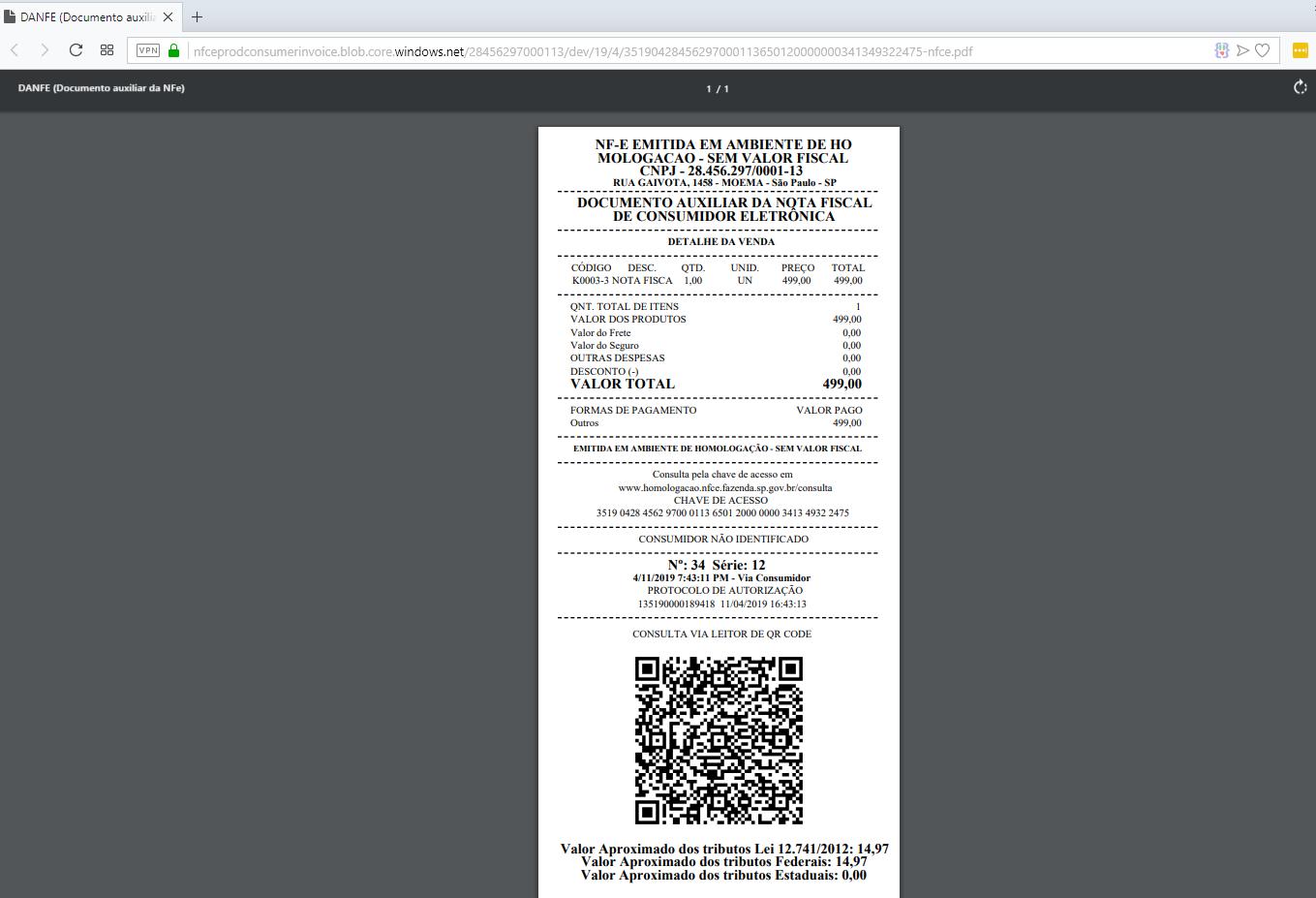 Consulta do PDF da nota fiscal