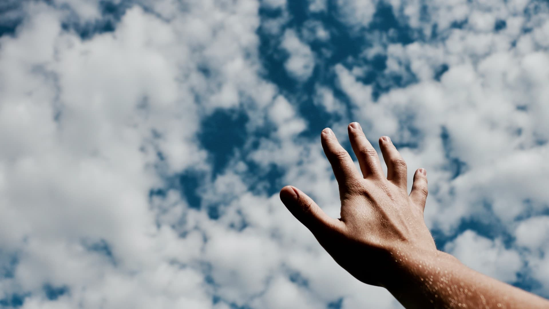 heand reaching out to sky