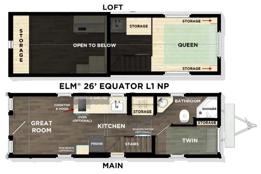 Tumbleweed's Elm Equator 26' floor plan, showing ground and loft floors.