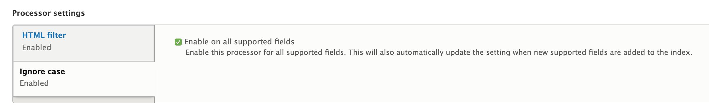 update processor settings for ignore case