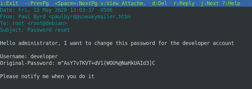 Mailbox password reset