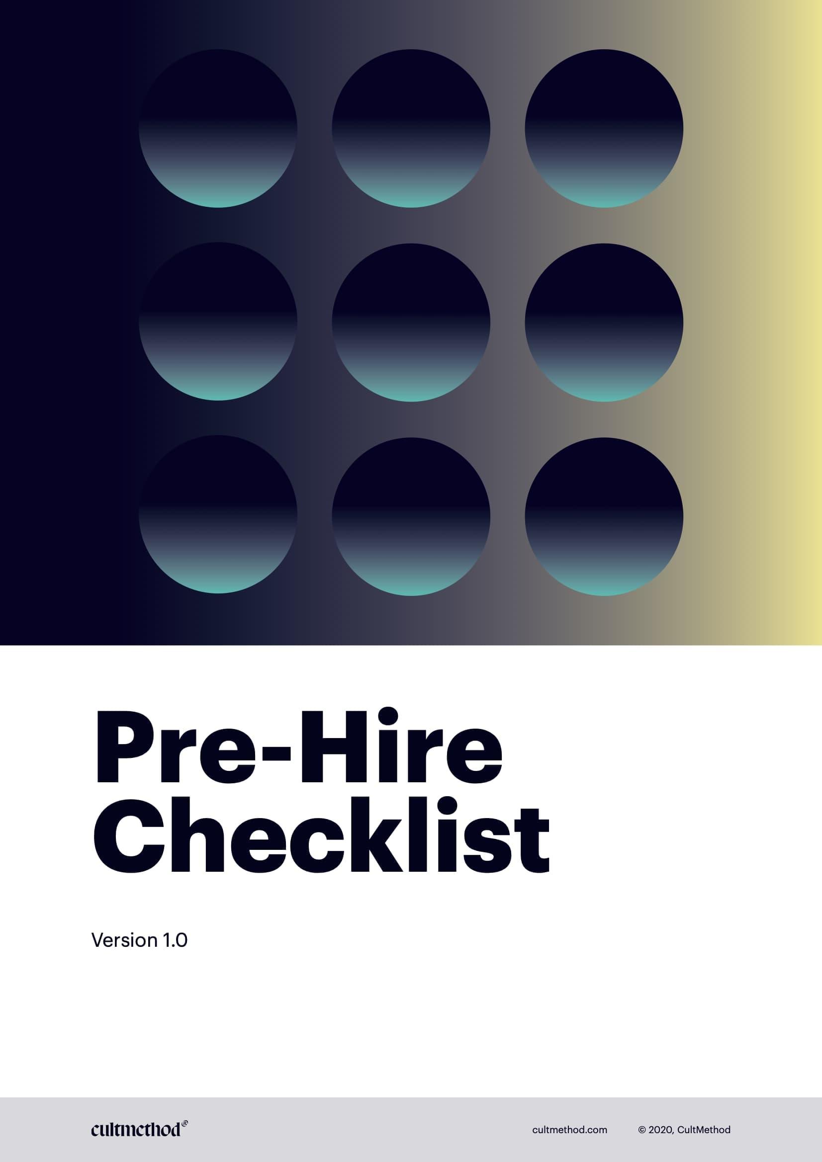 Cover page of Pre-Hire Checklist