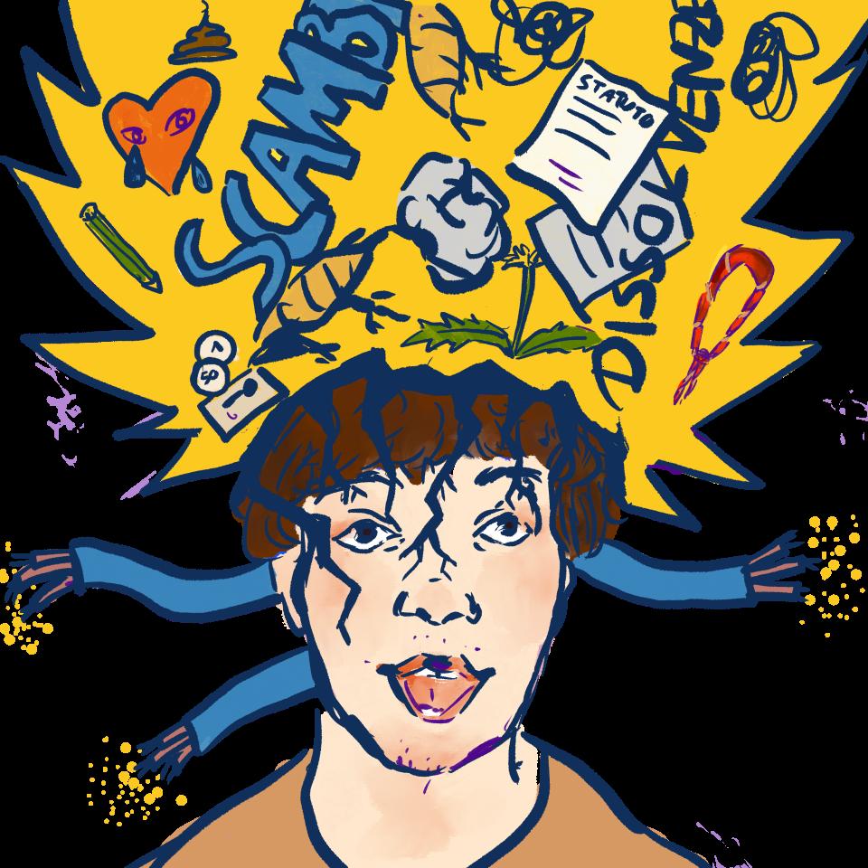 Un disegno dell'esplosione della testa di Tommi con una grande confusione che ne esce