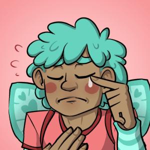 Michi sniffs a manly tear.