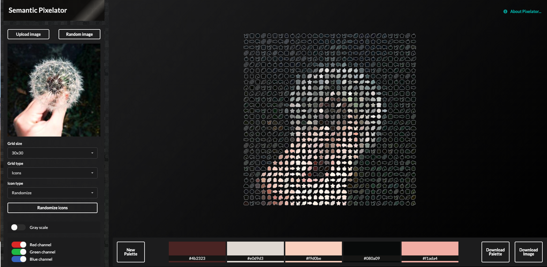 Screenshot from Semantic Pixelator app