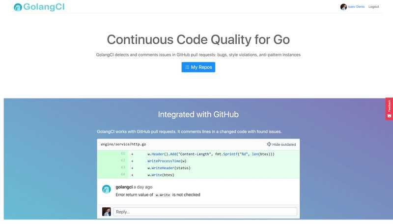 Screenshot of GolangCI.com