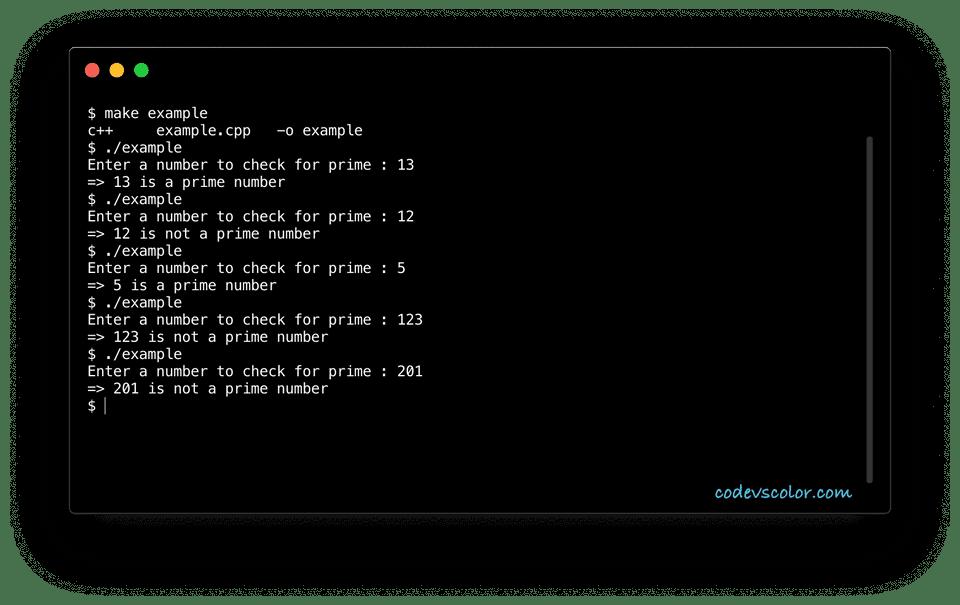 C++ find prime example