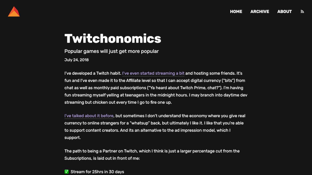 A dark website with white text and purple links