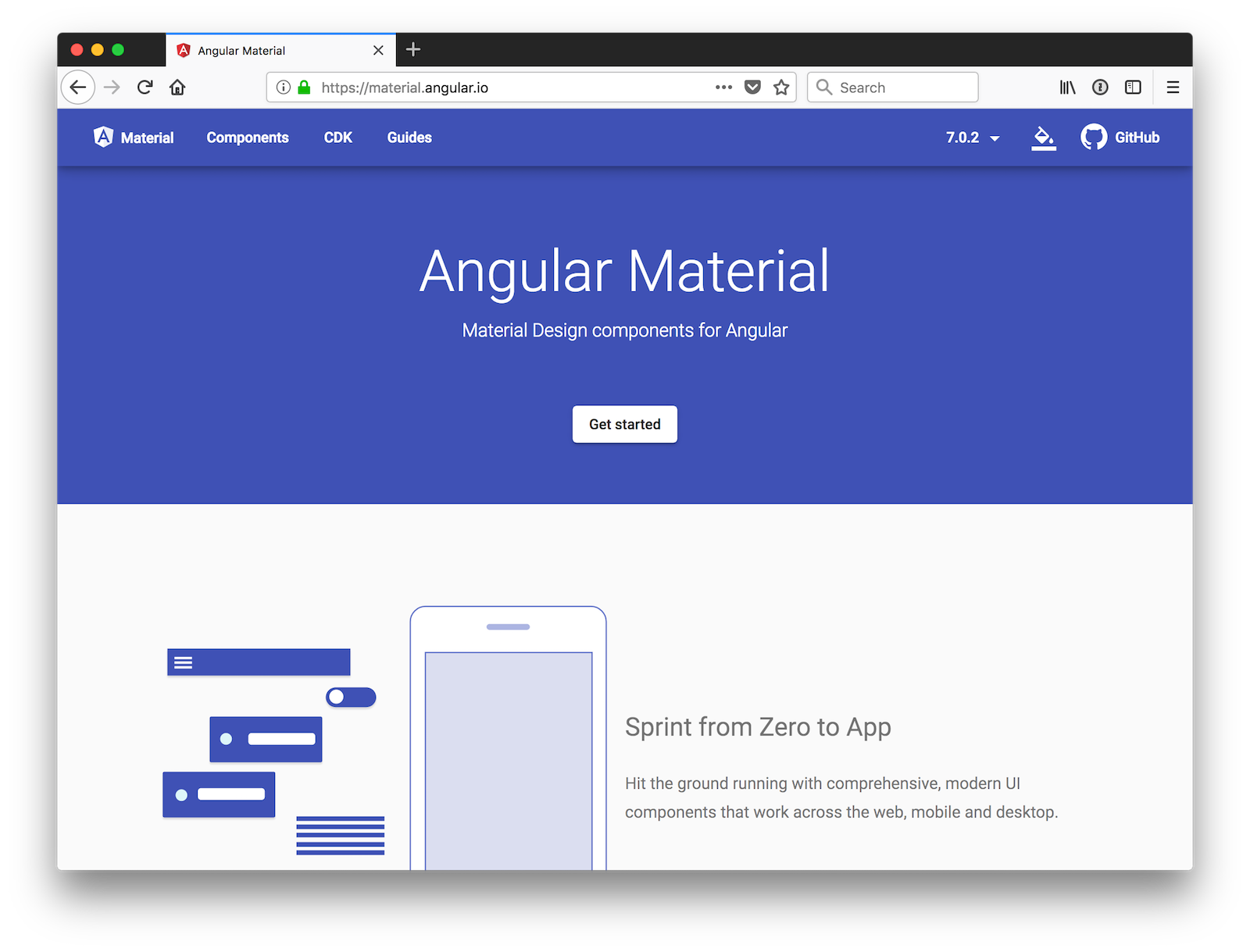 Angular Material Homepage