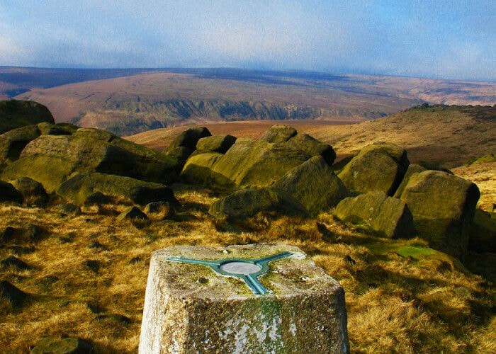 Trig point at the top of a hill on the Yorkshire Three Peaks
