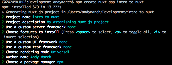 Create Nuxt app CLI