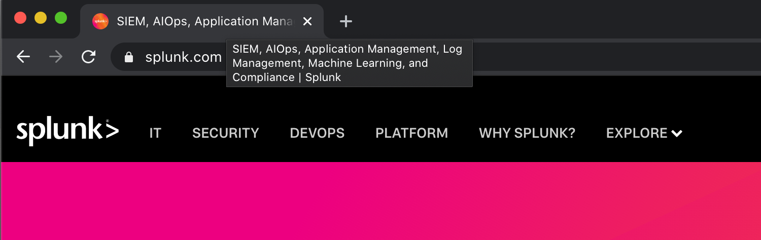 Splunk positions itself into multiple established and emerging categories at once.