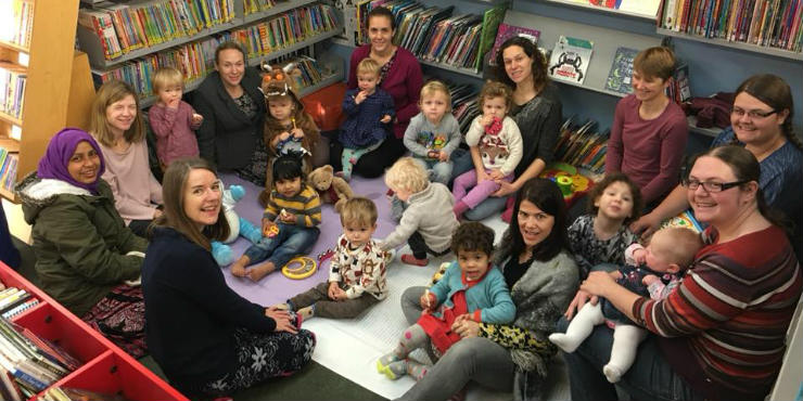 A baby and toddler group in a library