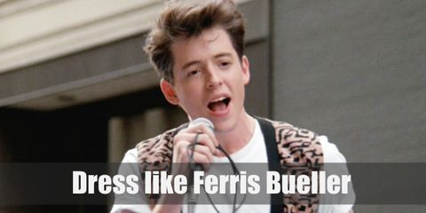 """Amongst those cool 80s style outfits is Ferris Bueller's own outfit, an interesting mix of casual and laidback pieces that features a very wild printed vest top."""