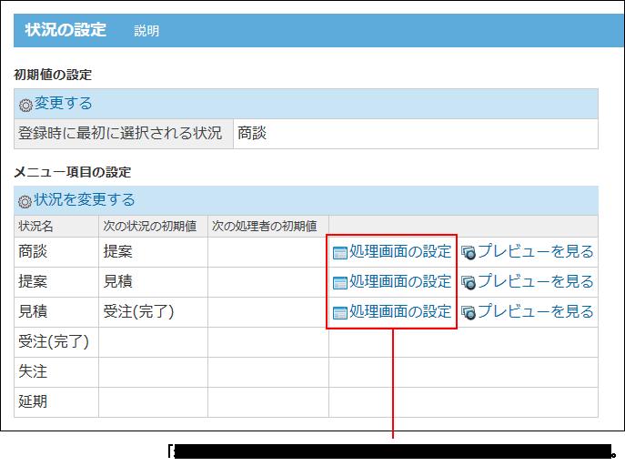 処理画面の設定の操作リンクが赤枠で囲まれた画像
