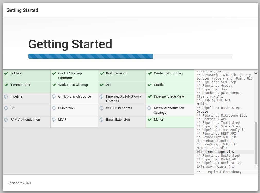 Screenshot of Jenkins install screen