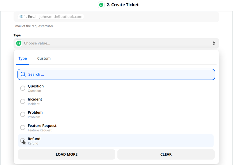 Select the type of ticket