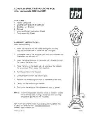 TPI Plastics Lamppost #4805, 4811 Instruction Manual preview