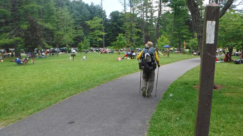 Walking through Pine Grove Furnace State Park picnic area