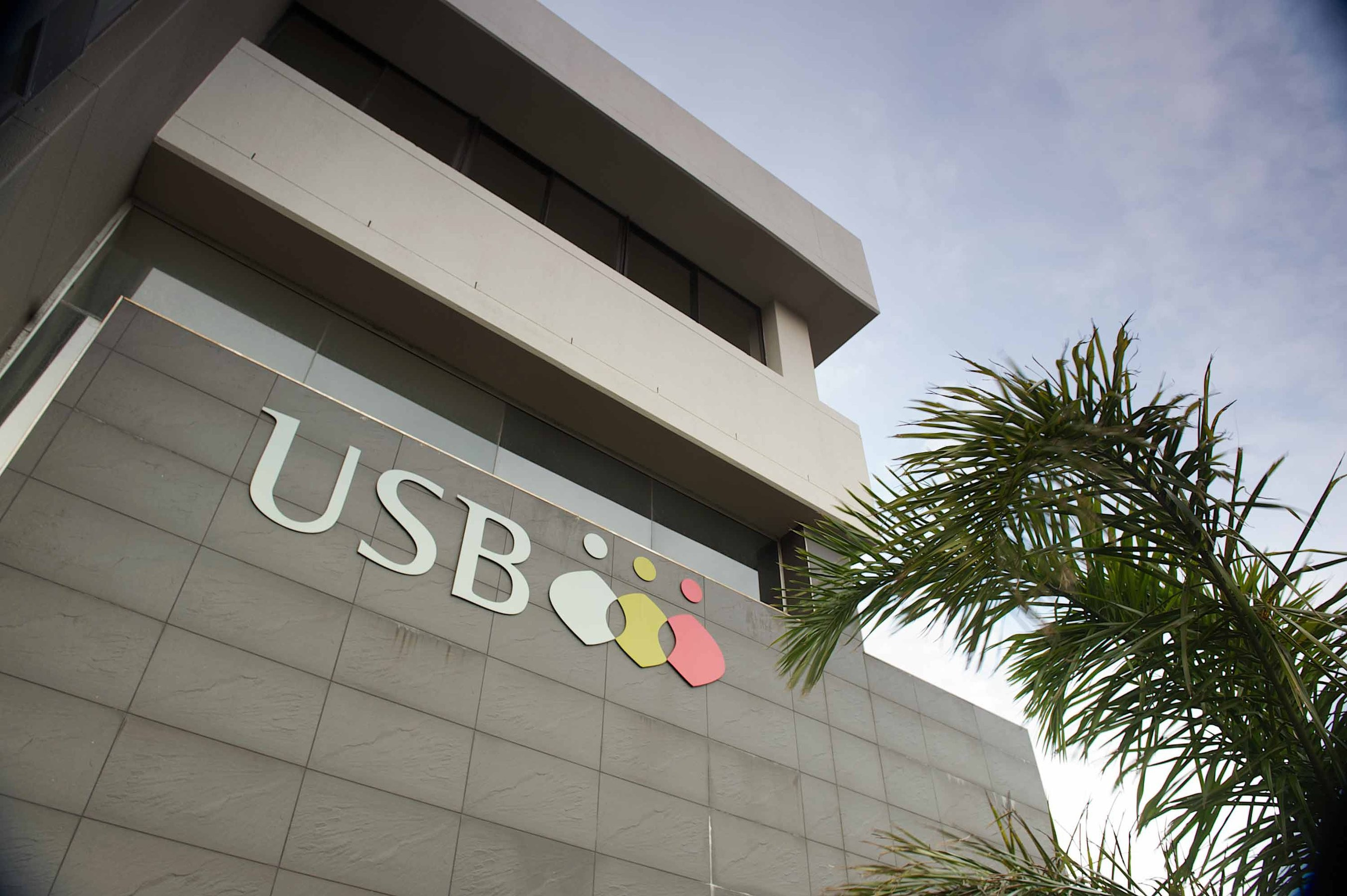 A high-angle photo of USB's Pear Tree building with the school logo and palm tree