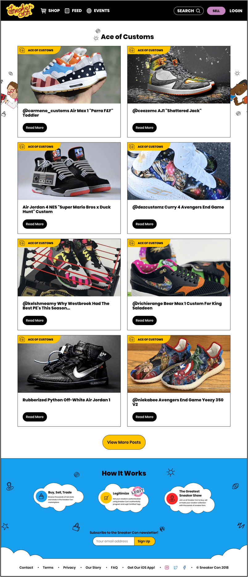Ace of customers Sneaker Con desktop page