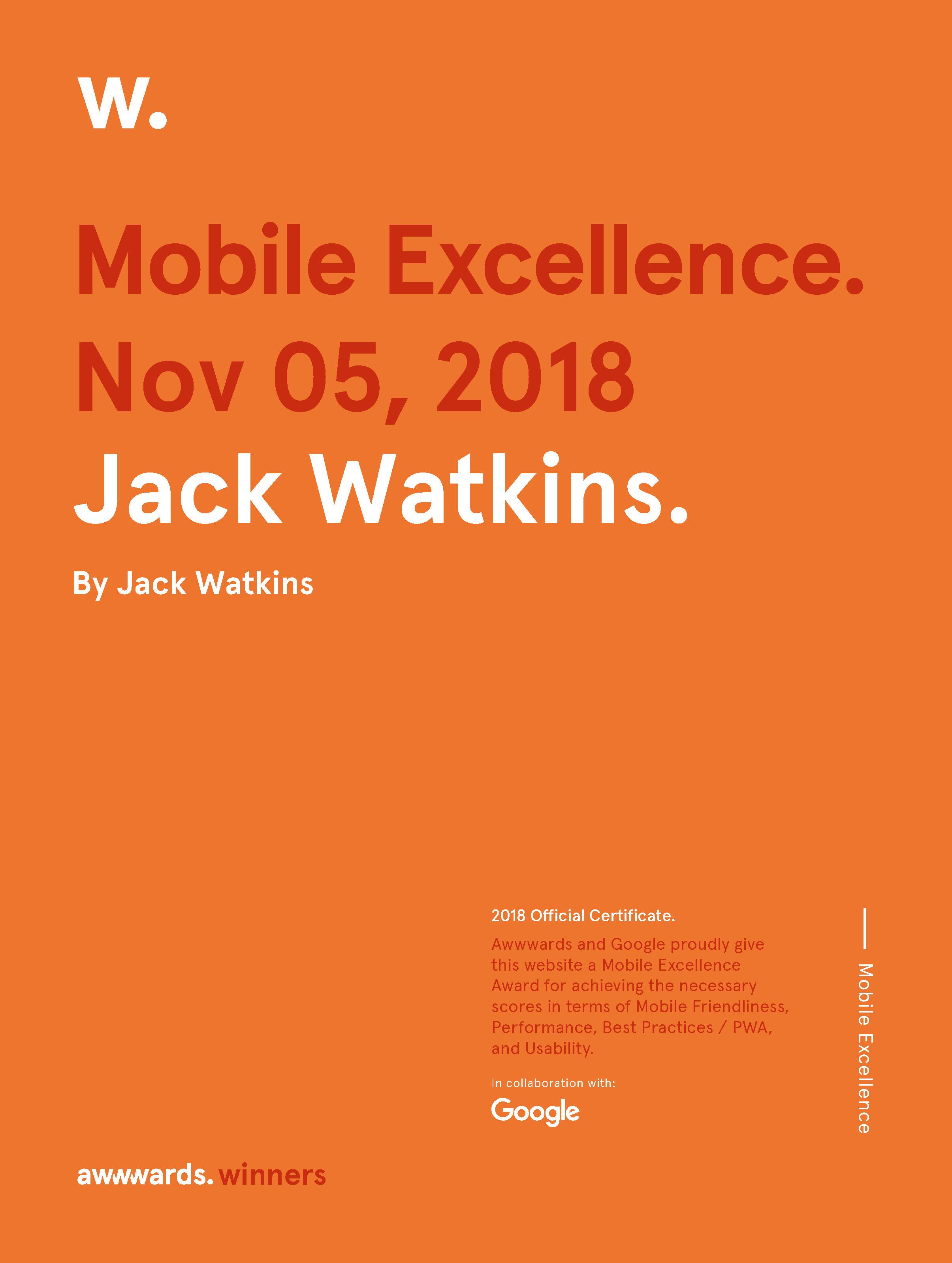 Jack Watkins Awwwards Mobile Excellence Award