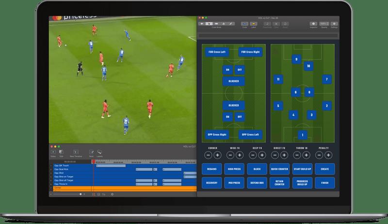 Pro Suite の一部である、サッカーの試合のスタッツを表示する Sportscode ダッシュボード