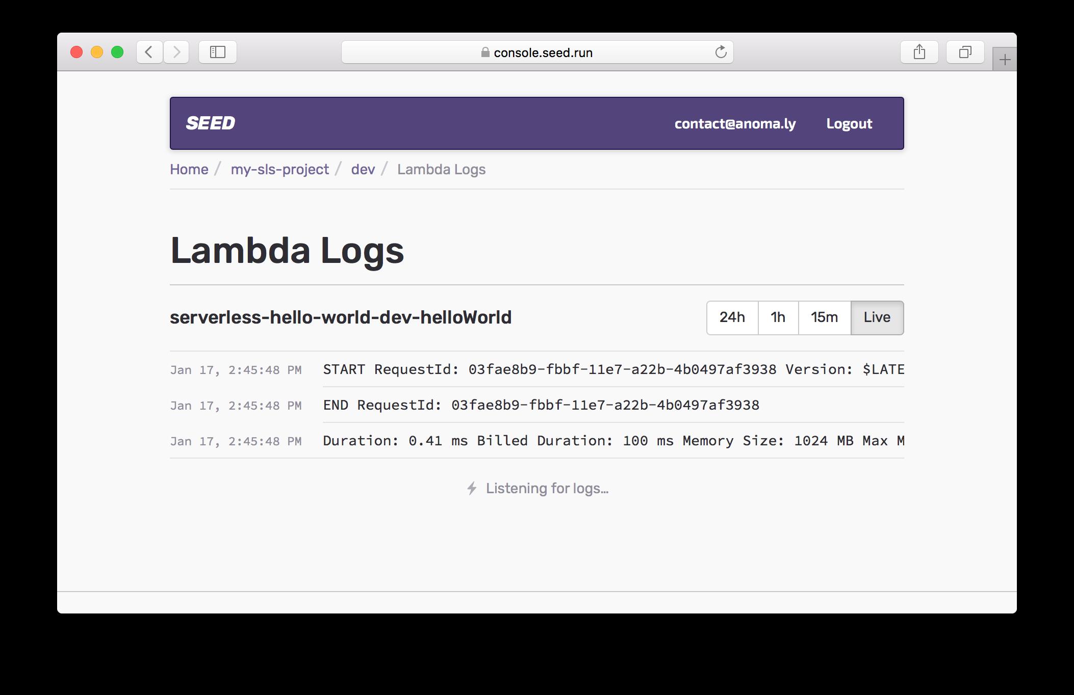 Lambda Logs Live