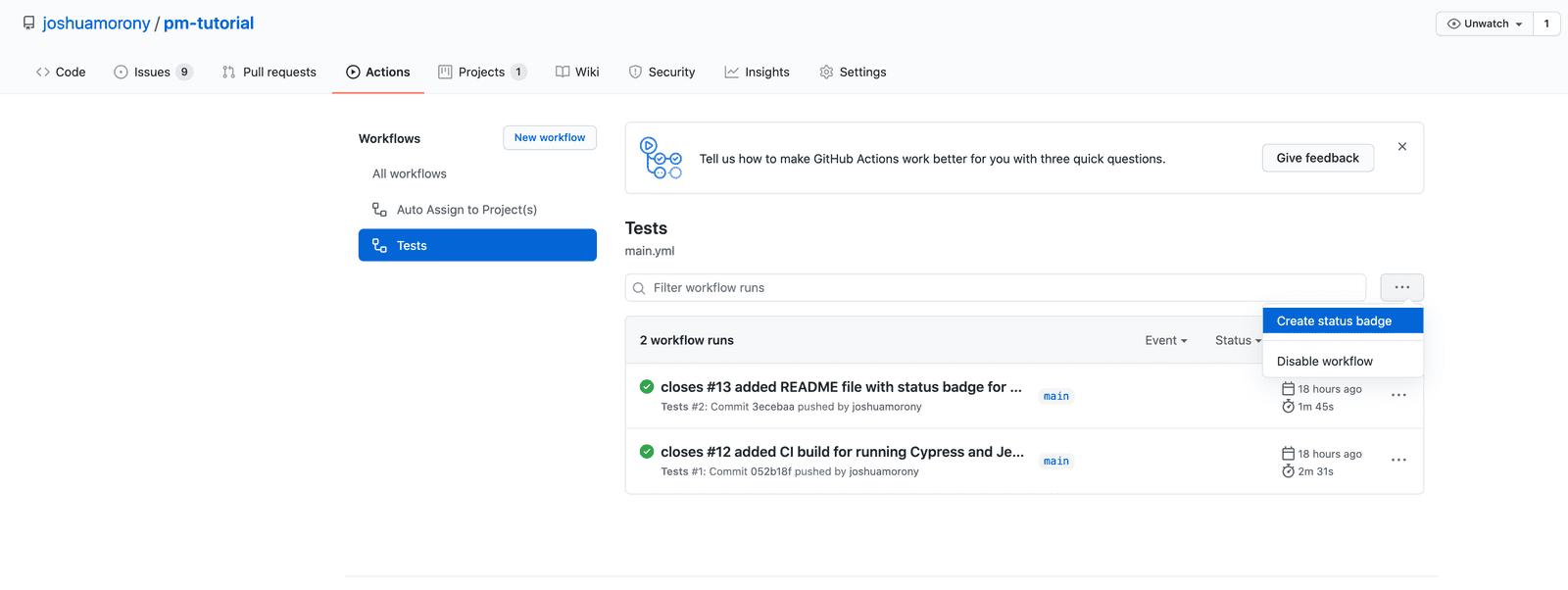 Creating a status badge