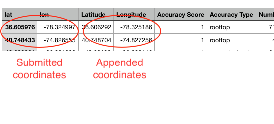 Screenshot of latitude/longitude coordinates in a spreadsheet
