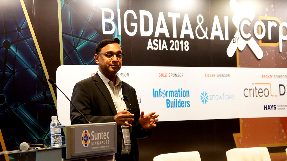 Rajesh Sreenivasan, head of technology, media and telecommunications at Rajah & Tann Singapore LLP, speaking at the Big Data & AI 2018 conference on 4 December 2018
