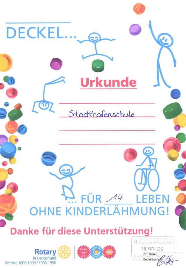 Urkunde Deckel gegen Polio 16.04.2019