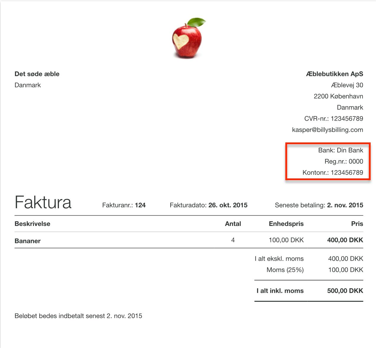 Betalingsoplysninger