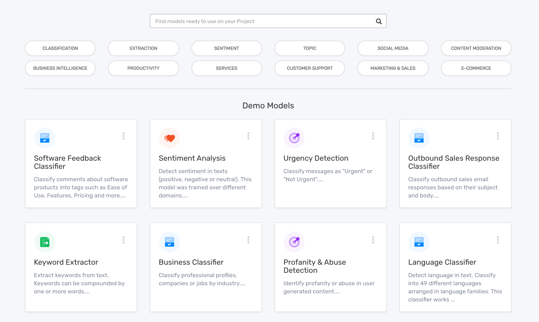 The MonkeyLearn dashboard with the option to choose from multiple pre-trained models.