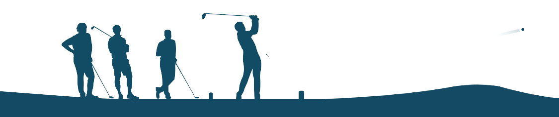 Graphic depicting four golfers