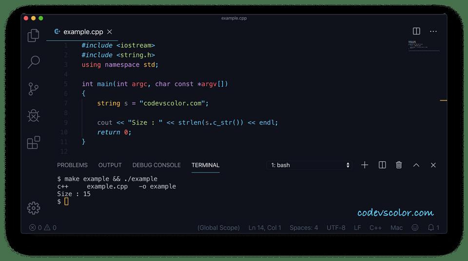 C++ string length strlen