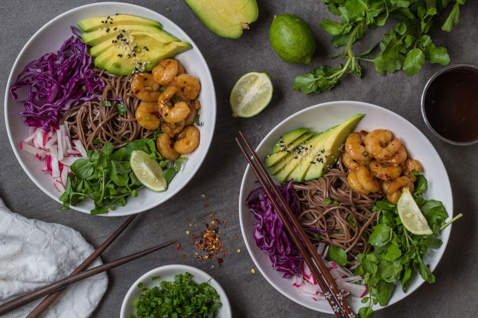 Maple Ginger Chili Shrimp Soba Bowls
