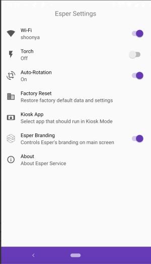 Esper settings app