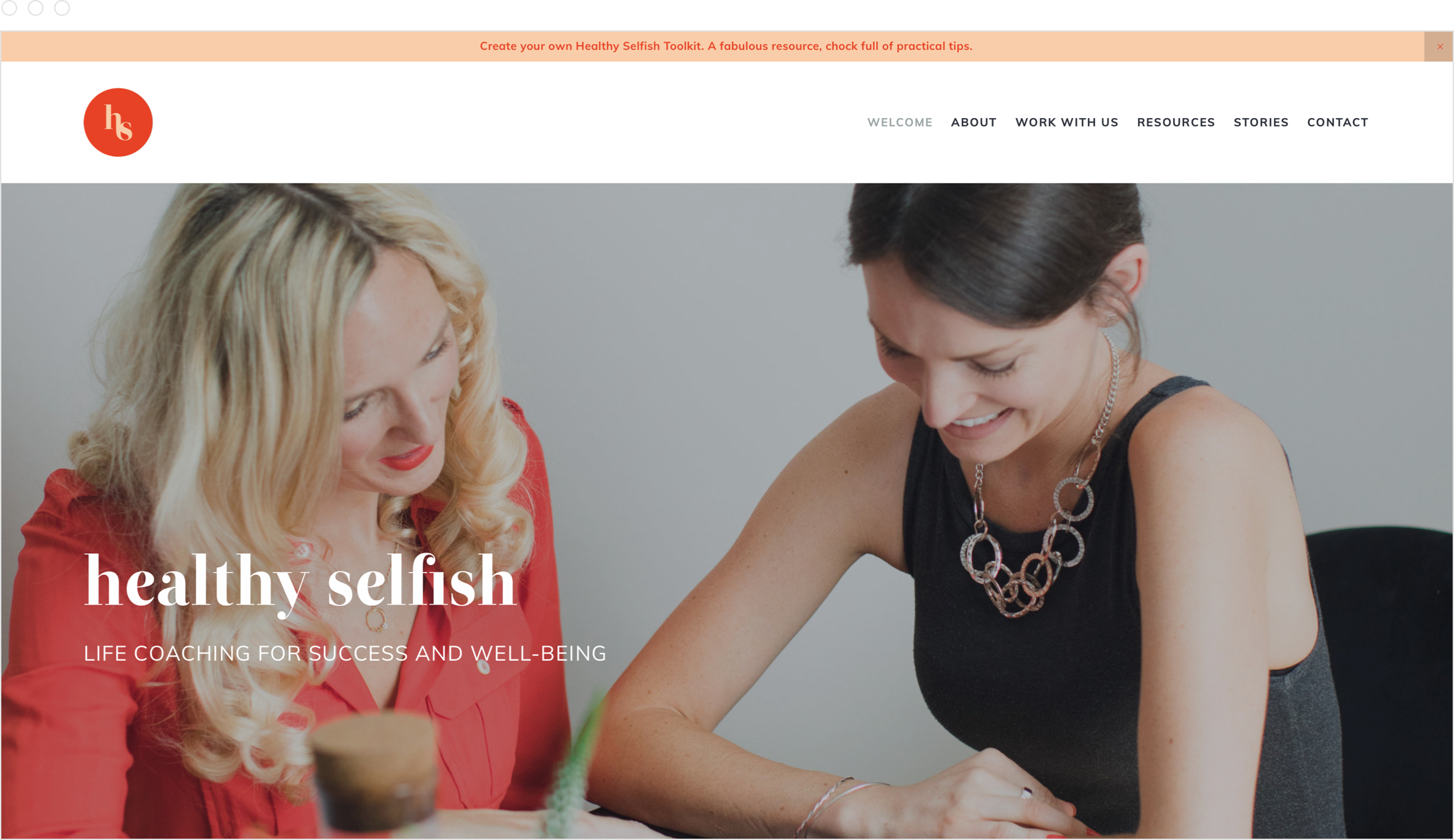 Simple, colourful, modern website design for sought after life coach, Rosie Dalling of Healthy Selfish