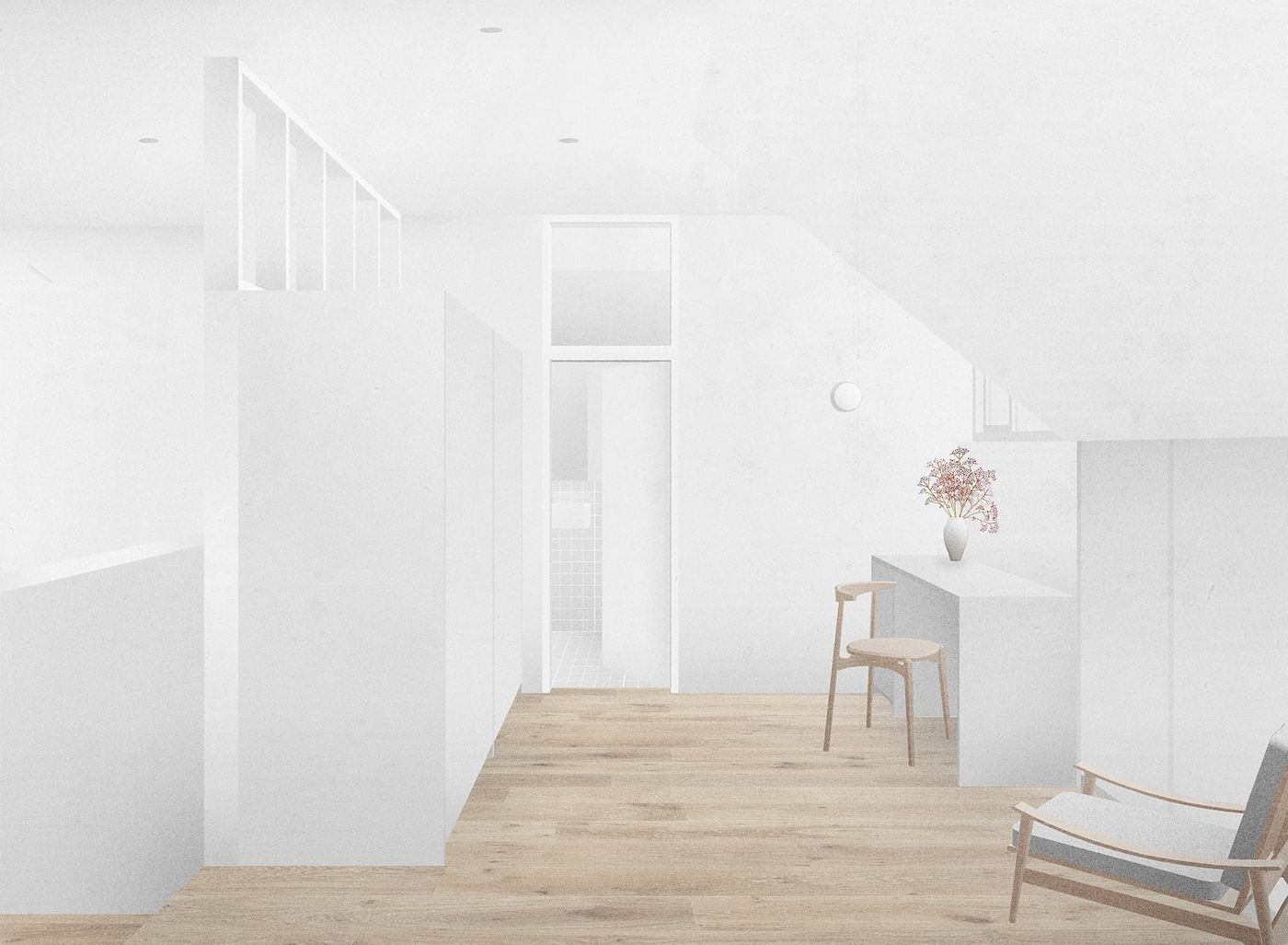 Internal view of new dressing room within the proposed dormer extension and refurbishment for the Whalley Road project designed by From Works.