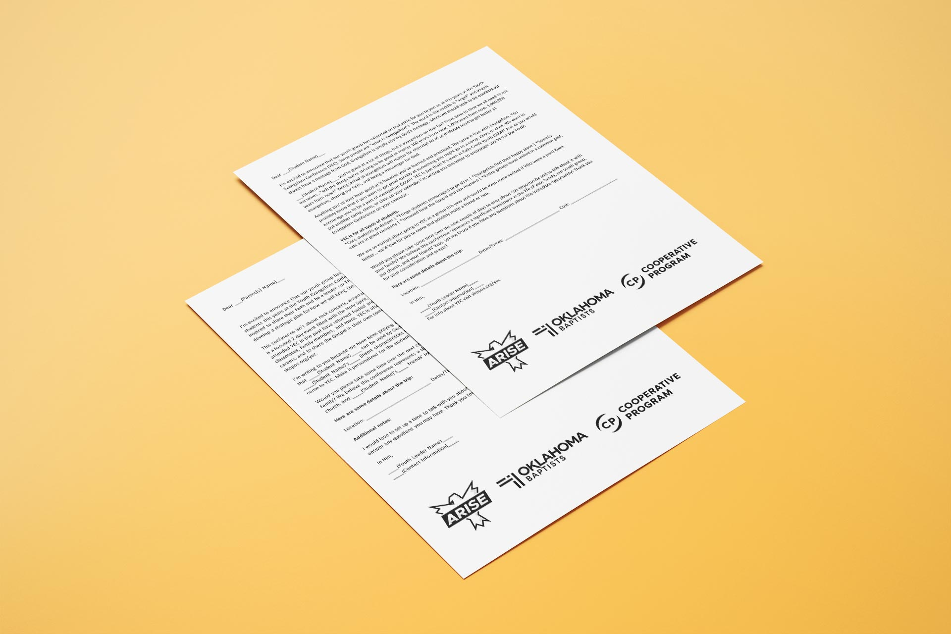 Letters to parents and students with a standardized footer for branding purposes.