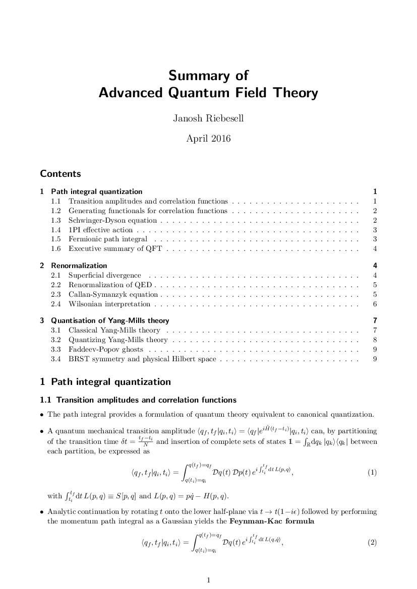 QFT summary