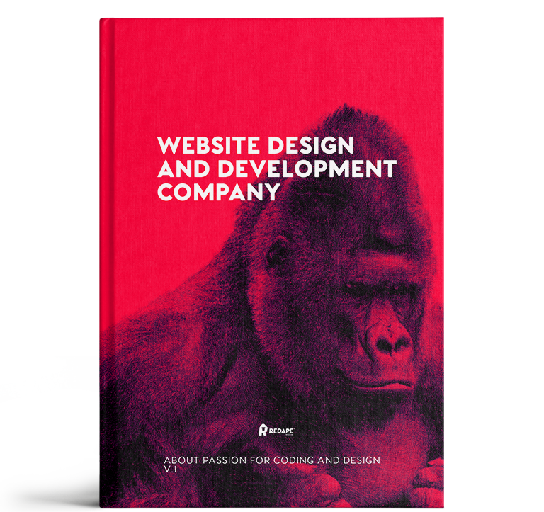 Red book with image of gorilla on it with the title Website Design and Development Company, subtitle About passion for coding and design V 1