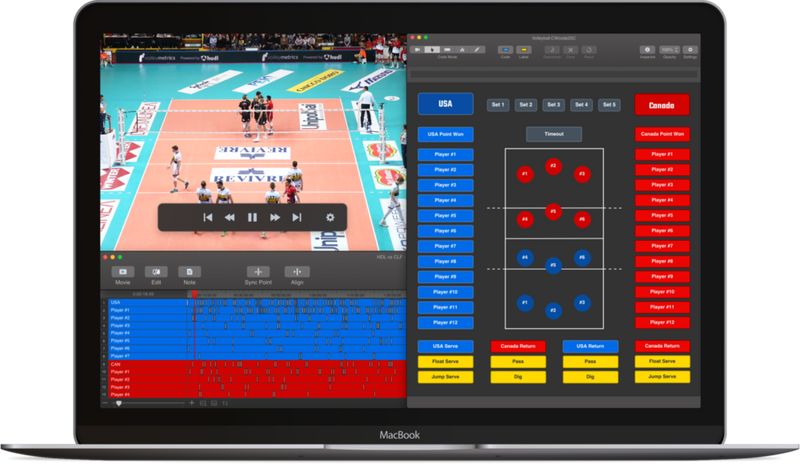 Hudl Sportscode Volleyball code dashboard