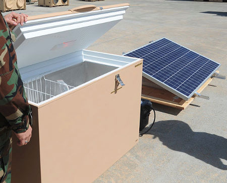 A solar-panel powered freezer unit used by the army in a remote location, from Wikipedia.