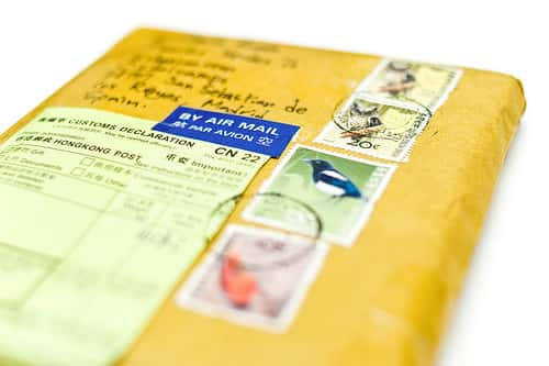 package with yellow envelope