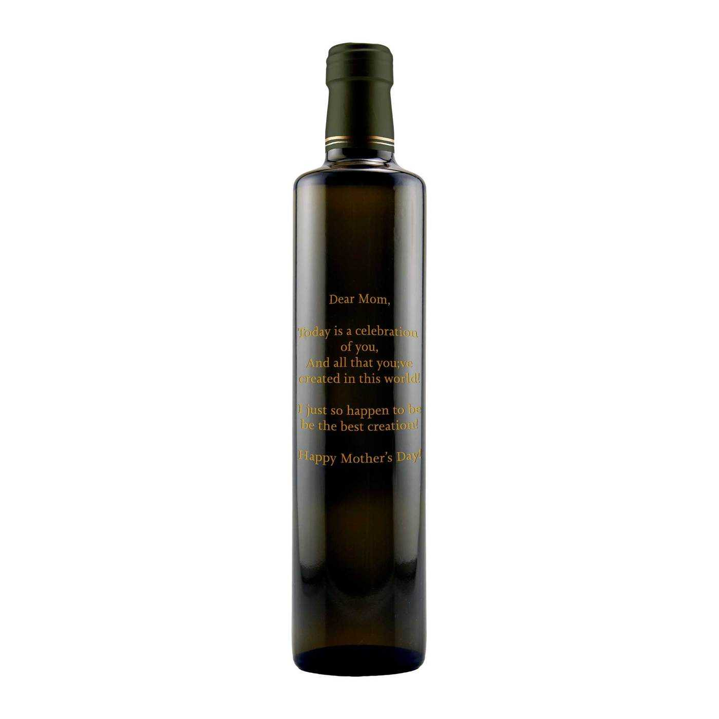 custom text engraved olive oil bottle by Etching Expressions
