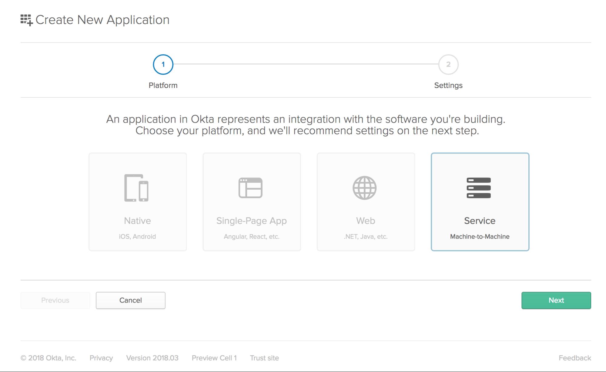 Create an Okta service application